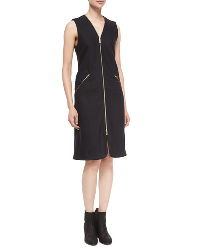 Lees Sleeveless Zip-Front Dress, Black