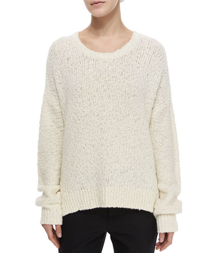 Long-Sleeve Boucle Sweater