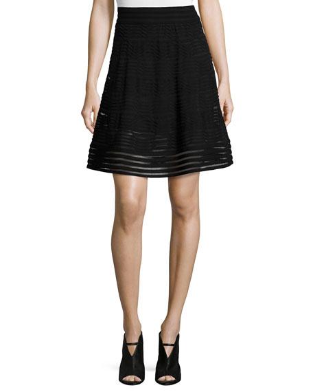 Solid Rib-Stitch A-line Skirt