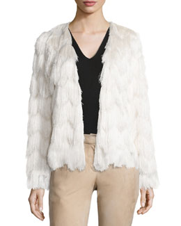 Florin Scalloped Tiered-Fringe Jacket, Cream