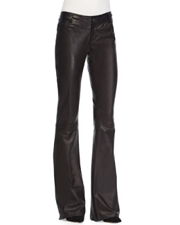 Leather Flare-Leg Pants, Black