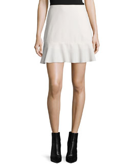 Graphic Crepe Ruffle-Hem Skirt, Off White