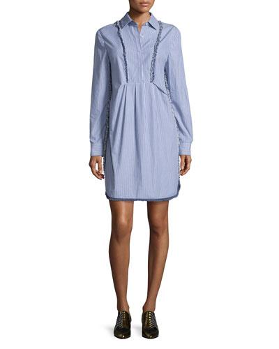 Frayed-Trim Striped Shirtdress, Blue/White