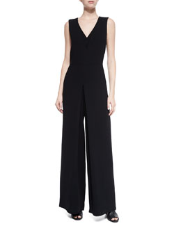 Double-V Solid Jumpsuit, Black