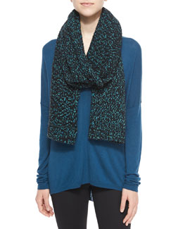 Speckled Cotton-Blend Knit Scarf