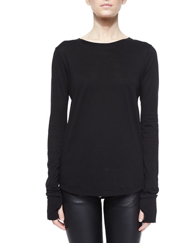 Cotton-Cashmere Long-Sleeve Tee