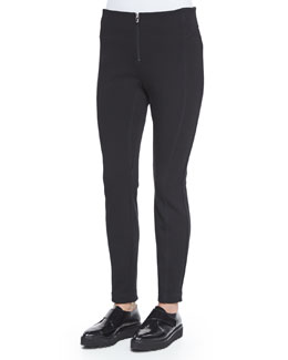 Ponte Zip-Front Leggings, Black