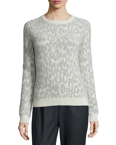 Salomay Leopard-Print Knit Sweater