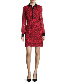 Long-Sleeve Floral Lace Shirtdress, Poppy/Black