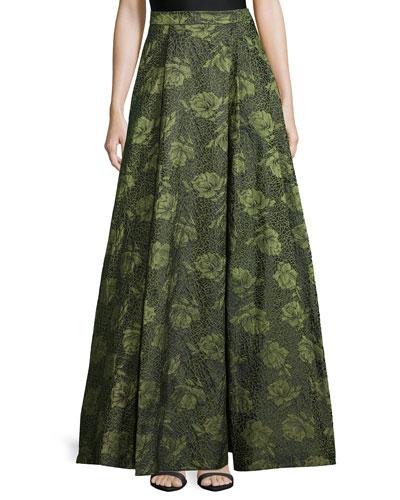 Floral Jacquard High-Low Skirt