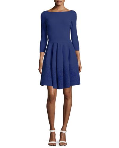 Helga 3/4-Sleeve Fit & Flare Dress W/ Burnout Hem