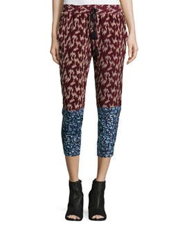Shelton Tapered-Leg Trousers, Black Cherry/Mineral Blue