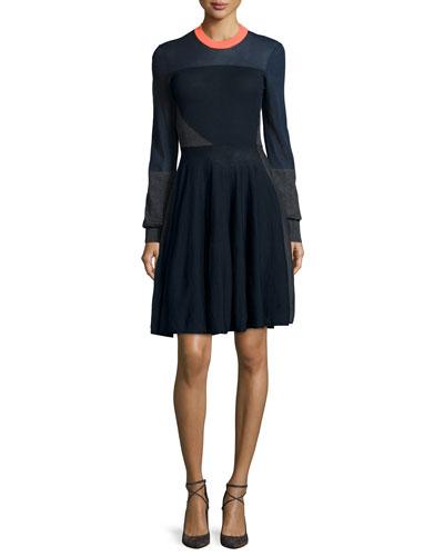 Colorblock A-Line Sweater Dress