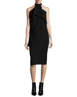 Sleeveless Drape-Neck Halter Dress, Black