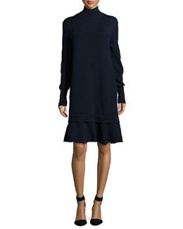 Turtleneck Ruffle-Hem Sweaterdress, Navy