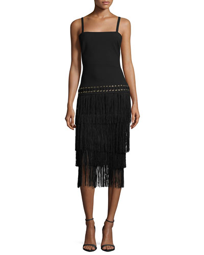 Zuly Layered-Fringe Dress, Black