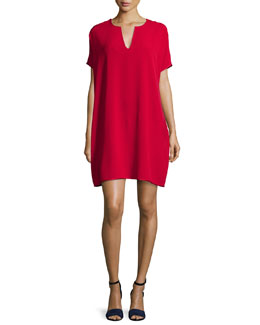 Kora Short-Sleeve Shift Dress, Lacquer Red