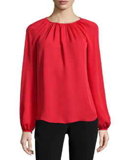 Marnie Long-Sleeve Silk Blouse, Poppy