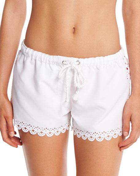 Bella Cutout-Trim Board Shorts, White