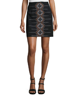 Cross Town Embroidered Miniskirt