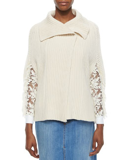 Ribbed Sweater Cape, Ecru