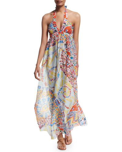 Light Mosaico Halter-Neck Maxi Dress, Celeste/Arancio