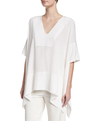 Silk V-Neck Arched Poncho