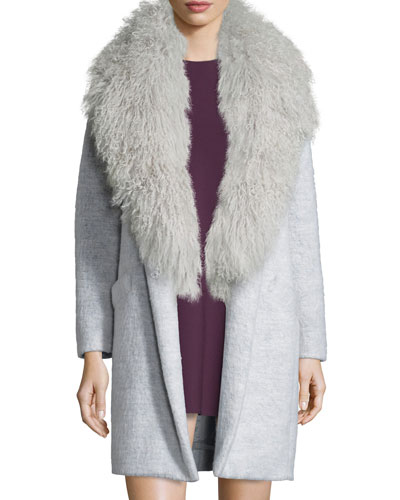 Iris Oversized Fur-Collar Long Coat, Purple/Gray