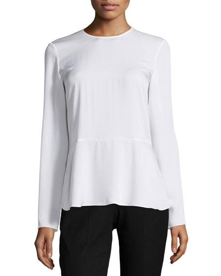 Malydie Long-Sleeve Silk Top
