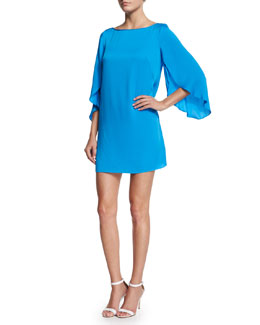 Butterfly-Sleeve Stretch-Silk Dress