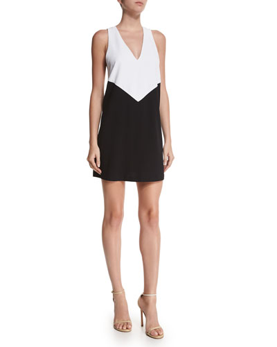 Maya Colorblock Racerback Dress, Black/White