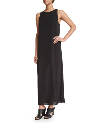 Lucia Sleeveless Chiffon Maxi Dress, Black