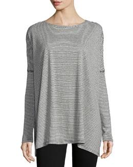 Bradwin Striped Linen-Blend Top, Black/White