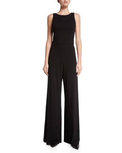 Judee Open-Back Jumpsuit, Black
