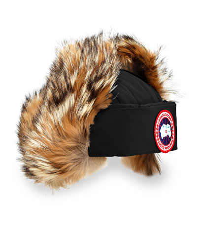 Coyote-Fur Aviator Hat, Black