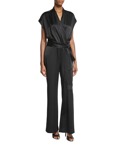 Araceli Satin Wrap-Style Jumpsuit, Black