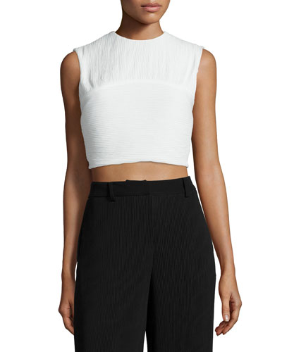 Pleated Sleeveless Crop Top, Ivory