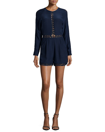 Long-Sleeve Silk Crossbar Romper, Navy
