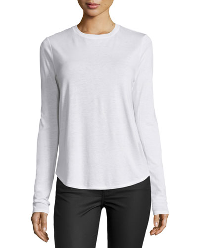 Solid Crewneck Long-Sleeve Shirt