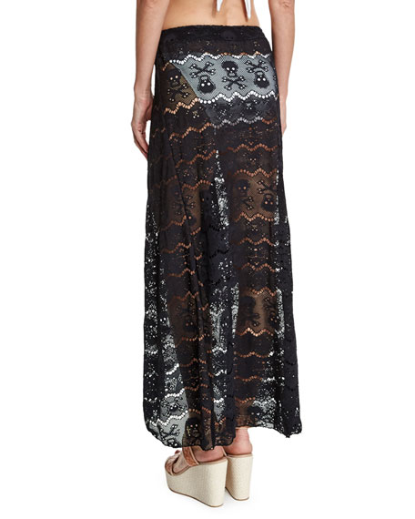 Embroidered Lace Coverup Skirt
