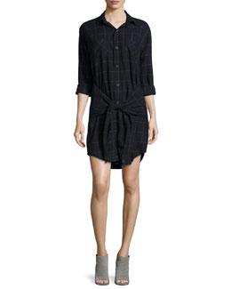 The Twist Button-Front Shirtdress, Black