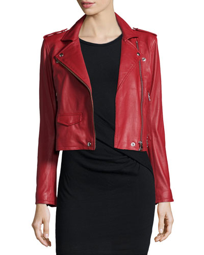 Ashville Leather Moto Jacket, Red