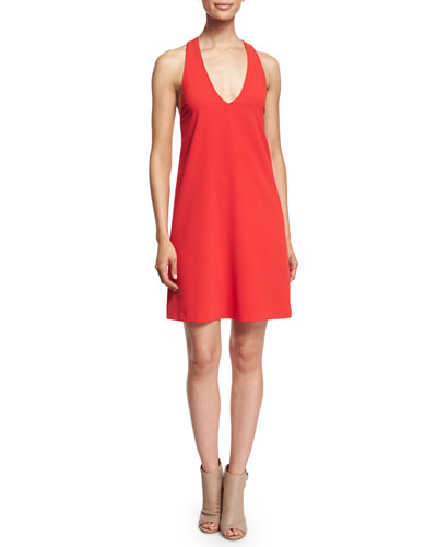 Sleeveless Halle Crepe Shift Dress, Red