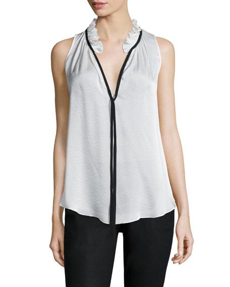 Katrina Shadow-Stripe Sleeveless Top, White/Black