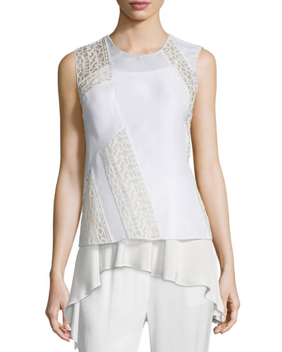 Silk Paneled Cross-Back Tank, Cream