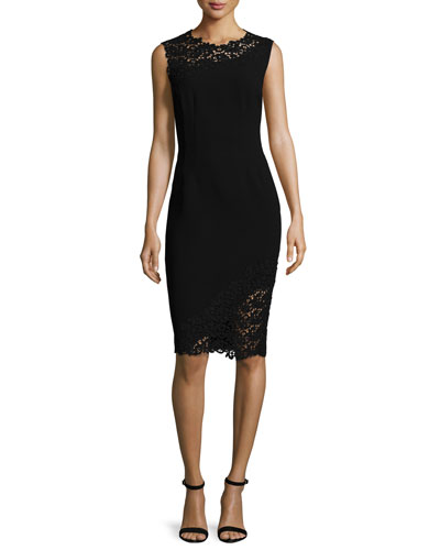 Emory Sleeveless Sheath Dress with Lace Detail