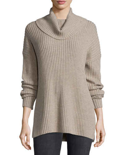 Long-Sleeve Turtleneck Ribbed Sweater, Marbled Porcupine