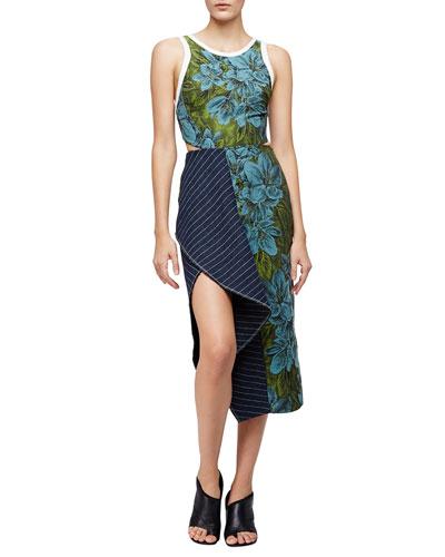 Sleeveless Floral Linen Dress w/ Striped Trim, Leaf/Hydro