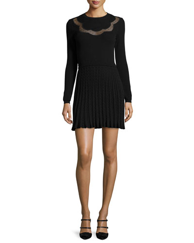 Long-Sleeve Scallop Lace-Inset Dress, Black