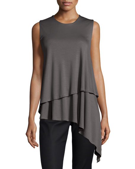 Sleeveless Asymmetric Jersey Tunic, Slate